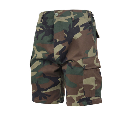 Woodland Camo BDU Military Shorts - Front View