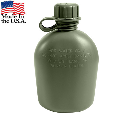 Genuine G.I. 3PC 1 Qt Olive Drab Plastic Canteen - View