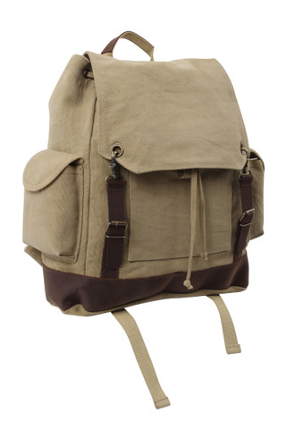 Vintage Khaki Expedition Rucksack - Front View