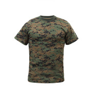 Kids Camo Woodland Digital T Shirt - Front View