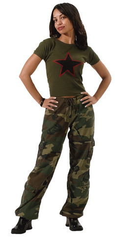 Women's Camo Vintage Paratrooper Fatigue Pants - View