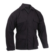 Black 100% Ripstop Cotton BDU Jacket - Front View