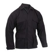 Black 100% Ripstop Cotton BDU Jacket - Front View