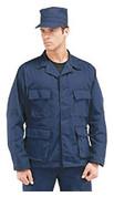 Navy Poly/Cotton BDU Fatigue Jacket - Model View