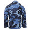 Sky Blue Camo BDU Fatigue Jacket - Back View