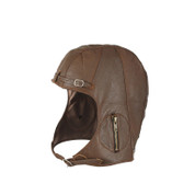 Authentic Vintage Style Brown Leather Pilots Helmet - Front View