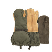 Military Leather Trigger Finger Mitten - Full View