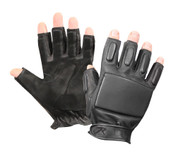 Tactical Leather Fingerless Rappelling Gloves - View
