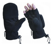 Black Polar Fleece Fingerless Combo Mittens - Pair View
