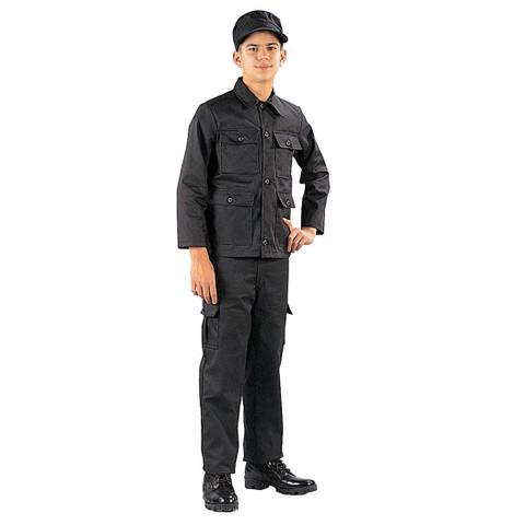 Kids SWAT Black Fatigue Pants - Model View