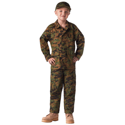 Kids Marine Woodland Digital Fatigue Pants - View