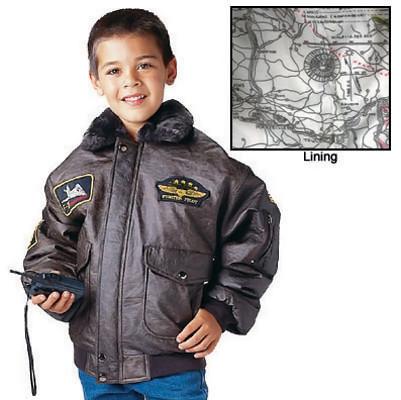 Kids B-15 Bomber Flight Jacket - Inside Map View