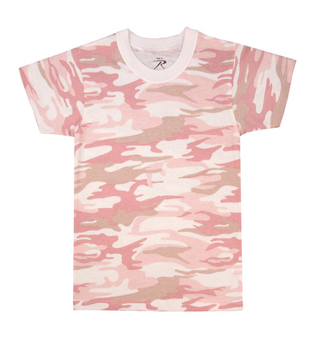 Kids Baby Pink Camo T Shirt - View