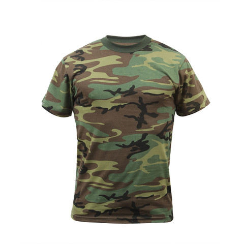 Kids Woodland Camo T Shirt - Front View
