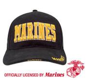 Deluxe Black Marine Cap w/Gold Marines