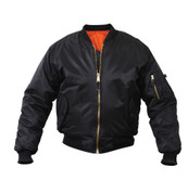 Rothco Black MA 1 Flight Jacket - Front View