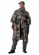 Woodland Camouflage Ripstop Nylon Poncho