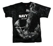 Vintage Navy Anchor T Shirt - Black