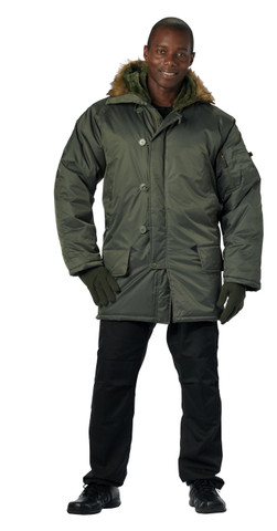 Sage Green N 3B Parkas - Model View