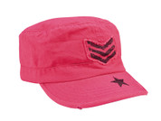 Womens Vintage Pink w/Stripe & Star Fatigue Cap