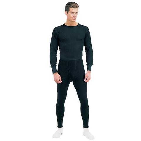 Black Thermal Underwear - Tops & Bottoms View
