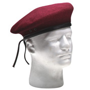 Military Style Maroon Wool Beret - View