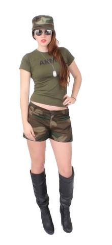 Women's Camo Fatigue Short Shorts - Model View