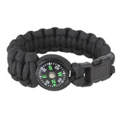 Paracord Compass Bracelet - Black