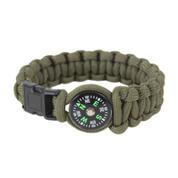 Paracord Compass Bracelet - Olive Drab