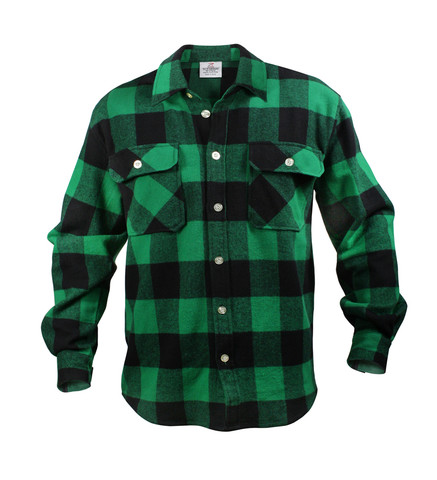 Extra Heavyweight Buffalo Green Plaid Flannel Shirts - Front View