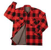 Extra Heavyweight Buffalo Red Plaid Sherpa Lined Flannel Shirt - Flat View