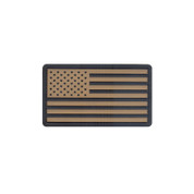 U.S. Flag PVC Patch w/ Hook Back - Black/Khaki