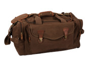 Classic Brown Canvas Weekenders Bag - Front View