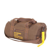 Military Style Brown Canvas Equipment Bag  - Side View