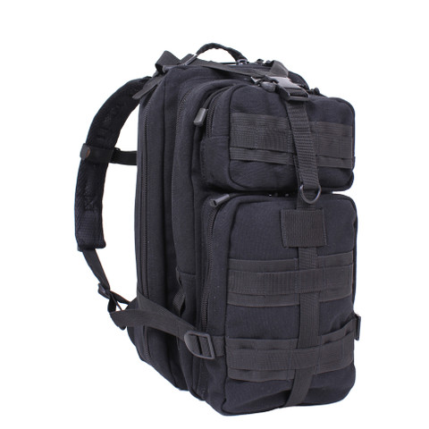 Black Tactical Canvas Go Pack - Front View