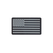 U.S. Flag PVC Patch w/ Hook Back - Black/Silver
