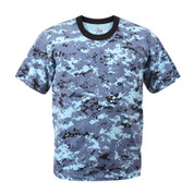 Kids Blue Digital Camo T Shirt - Front View