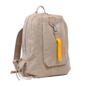 Vintage Khaki Canvas Flight Bag - Front View