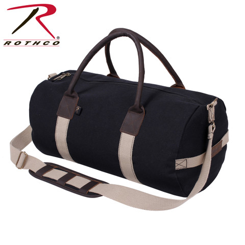 "Deluxe 19"" Black Canvas & Leather Gym Bag - Rothco View"