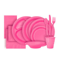 Hot Pink Plastic Party Tableware