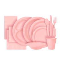 Pastel Pink Plastic Party Tableware