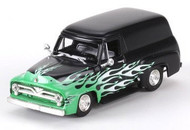 Athearn HO Scale RTR 1955 Ford F-100 Panel Truck (Black with Flames) : 26499