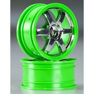 Traxxas 1/16TH Volk Racing TE37 Wheels: 2 (Green/Chrome) - 7374