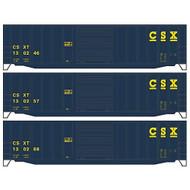 Accurail HO Kit 50' Exterior Post Steel Box, CSX (3) ~ 8026