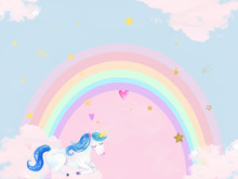 gorgeous unicorn themed photographers backdrop .. This image is 60 x 80 size backdrop