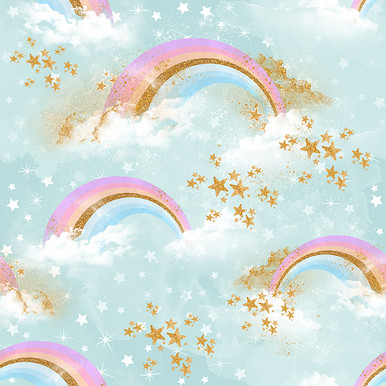 pastel rainbow and fluffy clouds photographers backdrop ..be lovely to use for a unicorn theme