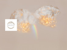 pastel rainbow and fluffy clouds with bokeh lights added to a photographers backdrop