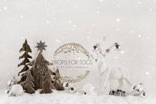 Wood trees and white deer indoor studio photographer backdrop