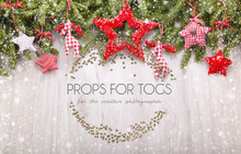 Wood background and Christmas garland photographer backdrop
