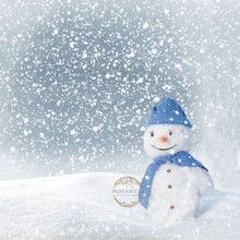 Snowman - Square shaped gorgeous snowy Christmas photographer backdrop